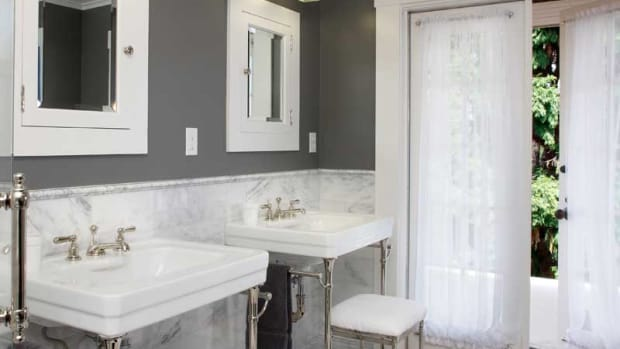 matching console washbasins and recessed cabinets