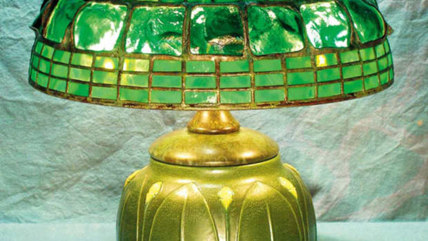 Tiffany reproduction by Century Studios, featuring a turtleback shade over a reproduction Grueby vase.
