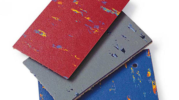 Linoleum and commercial vinyl are available in vibrant, period-friendly colors. Courtesy Linoleum City.