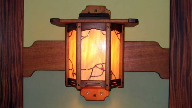 Gallenberg Studio's mahogany and ebony-pegged sconce