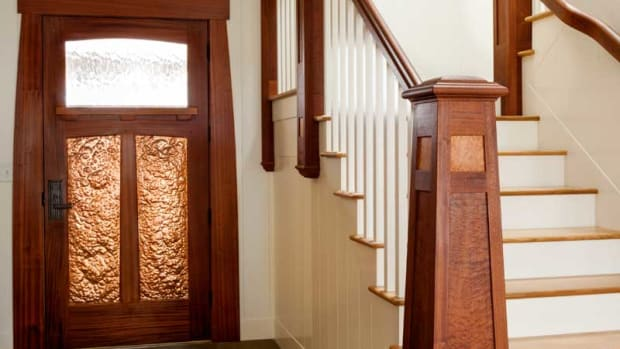 lighthouse-evoking stair newel, fine woodworking