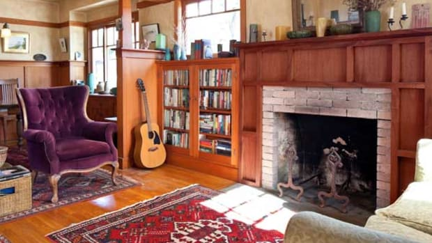 The owner built the woodwork, mostly in Douglas fir; the mahogany fireplace surround was an early project.