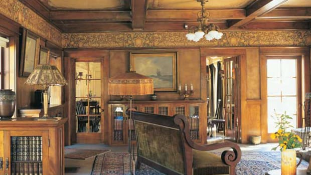 An original beamed-ceiling decoration scheme survives at the Lanterman House in California. below Narrow borders along beams coordinate with the pendant frieze in a revival room.