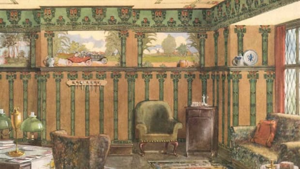 "Apparently pastoral but with a decidedly modern twist, the frieze takes center stage in this highly decorated period room.  Henry Bosch Co. From the catalog ""Modern Home Decoration,"" 1912"