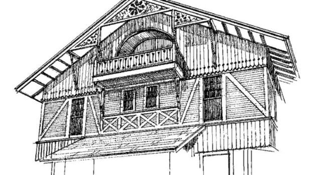 A ca. 1900 Chalet in Milwaukee shows the influence of the Stick Style. Drawing by Rob Leanna.