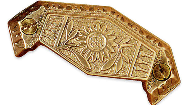 A lovely Victorian Aesthetic-sunflower bin pull from Horton Brasses.