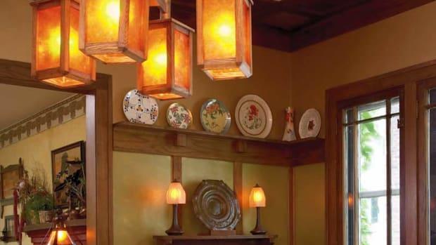 chandelier was handcrafted by Gustav Stickley's grandson