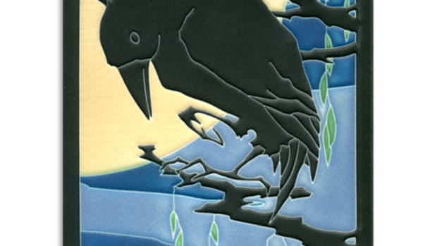 "Large 6"" x 8"" 'Raven' tile in Midnight, Motawi Tileworks"