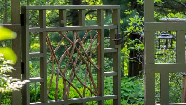 rustic twig-work gate