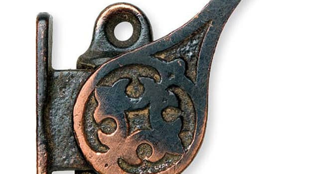 This item keeps a window sash open by producing tension against the outer frame when it's mounting on the side of a sash. Courtesy Web Wilson Antique Hardware