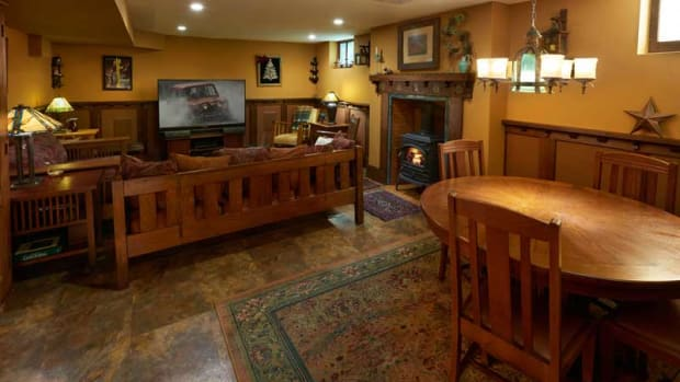 All furniture in the new basement family room was restored by the owners.