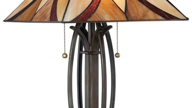 Bright Spot Craftsman Lamp Stained Glass shade