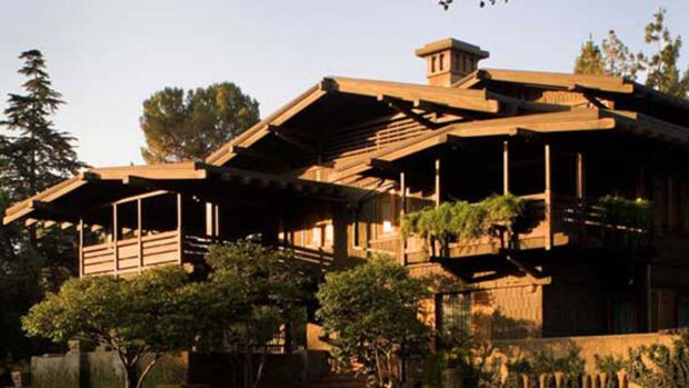 "Gamble House, one of Greene & Greene's ""ultimate Bungalows,"" built 1908–9 in Pasadena."