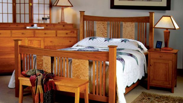 Superb The Joinery us ucSorenson Reverse Deluxe Bed ud in cherry with quilted maple panels shown with