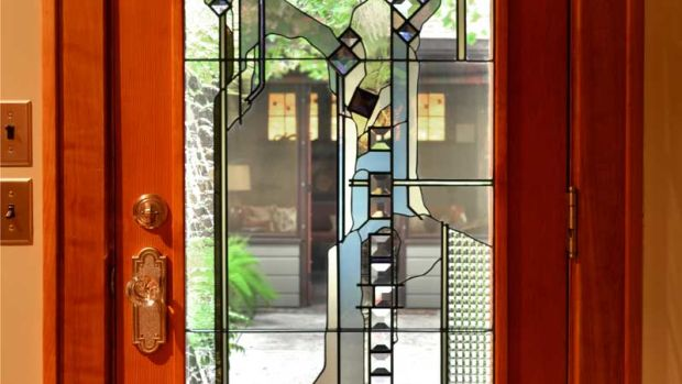 The dramatic art glass door on a house in St. Paul. Story by David Heide and Michael Crull