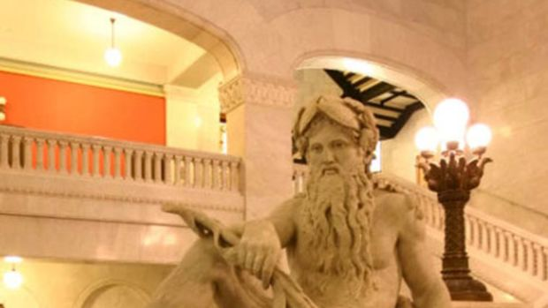 """Landmarks include """"Father of the Waters"""" at Minneapolis City Hall."""