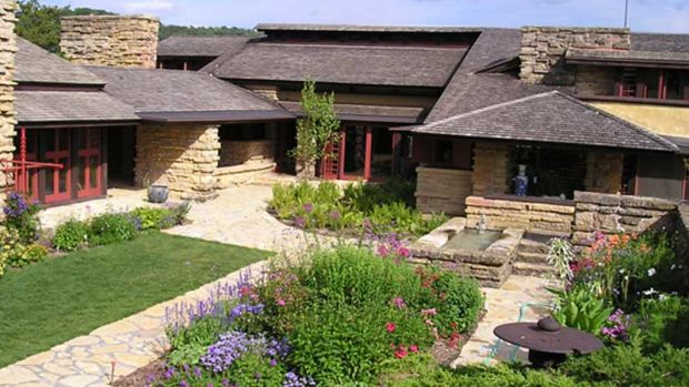 The garden court at Taliesin is an extension of the architecture.
