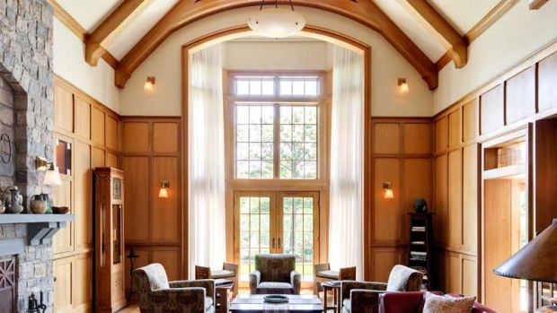 A Tudoresque living room in a new Arts & Crafts house by architect Edwin C. Heinle. Photo: Bruce Buck