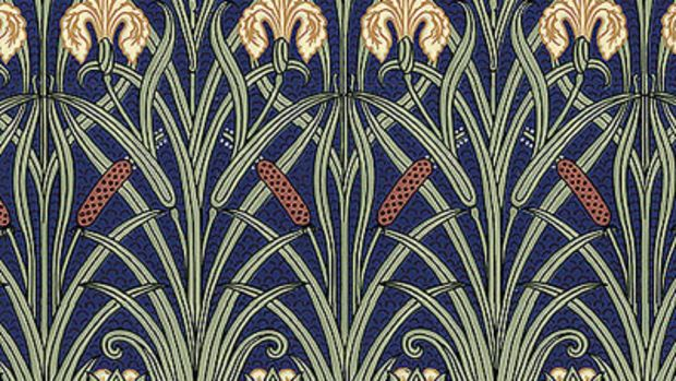 From the Aesthetic Movement Fenway series, 'Iris Frieze' in the Indigo colorway, adapted from English designer Walter Crane, Bradbury & Bradbury.