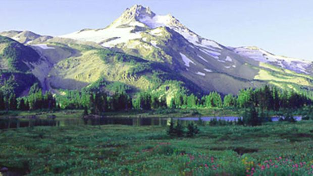 Mount Hood is a volcanic peak in the Cascade Range to the east of the Willamette Valley.