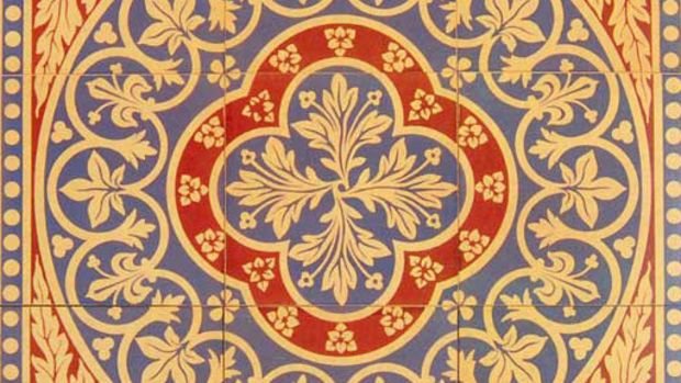 A more affordable, silk-screened faux encaustic tile from Tile Source.
