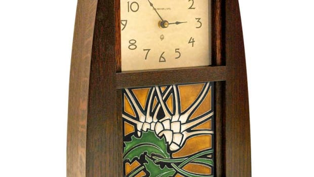 Stylized thistle tile from Motawi in a clock by Schlabaugh & Sons.