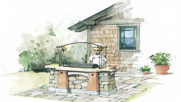Like outdoor hearths of old, the grille should be kept well away from the house and vulnerable landscape features. (Illustration: Rob Leanna)