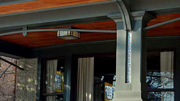 On a Chicago Foursquare, posts on the newly reopened porch are inlaid with mosaic glass, giving the impression of double columns. Photo courtesy Greene & Proppe Design.