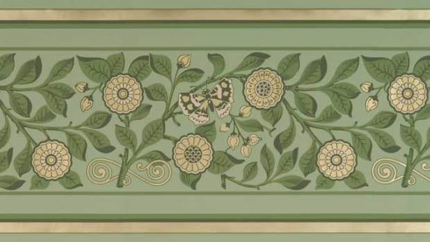 Aesthetic 'Butterfly Frieze' after Bruce J. Talbert, reproduced by Mason & Wolf Wallpaper.