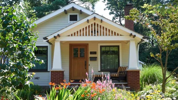 In a historic district near town center, the Sears 'Argyle' kit house has been restored. The handsome new porch brings back the original bungalow-era design.Photos: Gridley+Graves