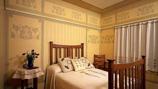 Authentic Arts & Crafts room sets featured deep borders, floral accents, and, invariably, stripes. The papers shown were reproduced for a house museum by Bradbury & Bradbury bradbury.com.