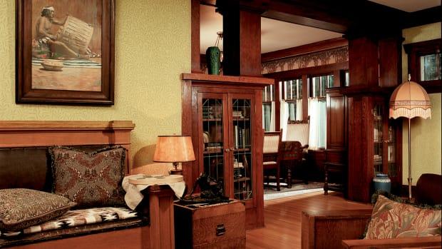 Arts & Crafts colonnade woodwork interior millwork
