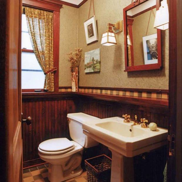 bathroom with historical feel