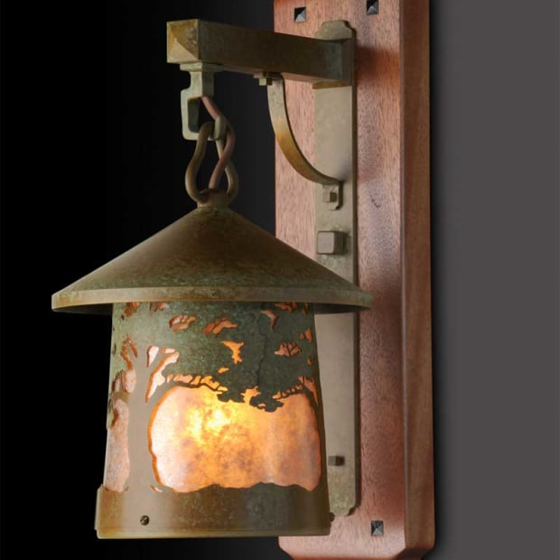 Many Old California Lighting designs make use of filigree overlays, like the recently released 'California Oak' sconce.