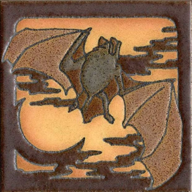 'Critter Bat' is a 6x6 deco cameo tile in a series from RTK Studios.