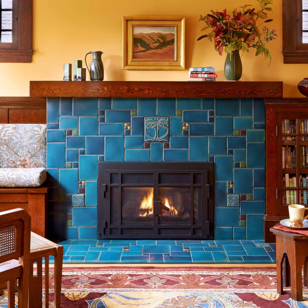 Motawi Nouveau Collage Fireplace, Photo by Daniel Moore