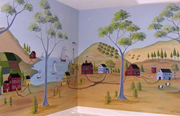 Rufus Porter-style mural, Jane Shockley