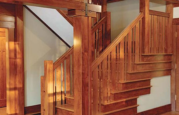 The treads are oak and the balustrade maple, but aniline dyes create a consistent look in a stair designed by Virginia architect Jim Erler erlerdesign.com and patterned after woodwork in a Greene & Greene house.