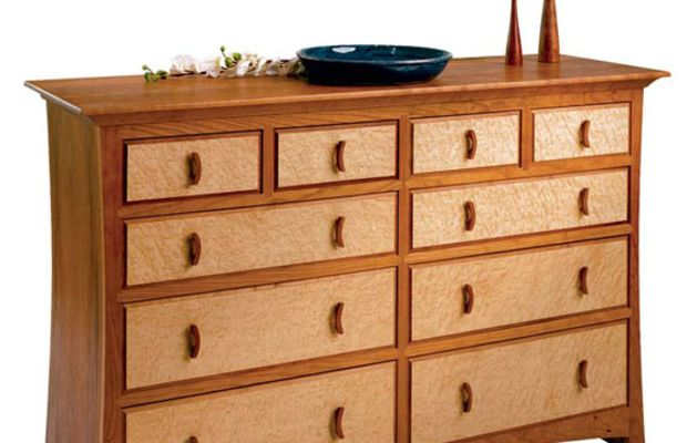 "Sawbridge Studio's ""Asian Gate"" dresser in bird's-eye maple and cherry."