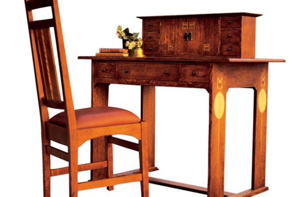 Stickley has reissued the 1904 Harvey Ellis-designed desk and side chair in quarter-sawn white oak with copper and hardwood inlays. (An original sold at Christie's for $74,000.)