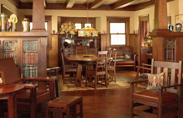 Original woodwork was restored by the owners of a modest stone and shingle bungalow in rural New York. Photo: Dan Mayers