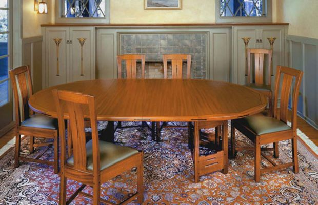 'Thorsen' table in mahogany and ebony is Peart's racetrack-shape interpretation of one at the Greenes' Thorsen House.