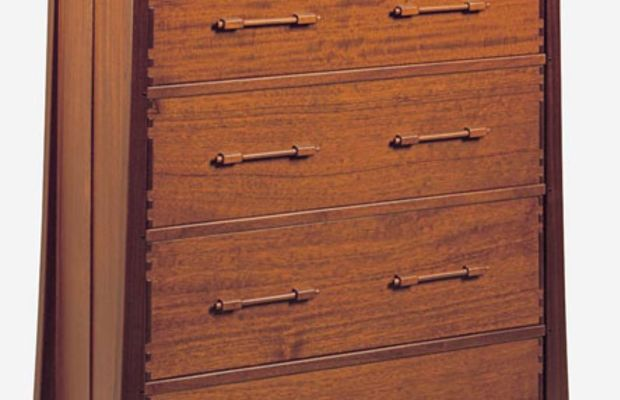 The 'Aurora' dresser picks up a favorite James Krenov element, the dowel and block pull.