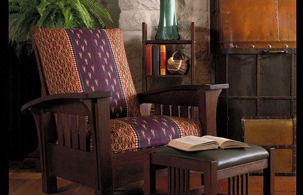 An original Gustav Stickley Morris chair in fumed oak at Craftsman Farms, Stickley's home in New Jersey.