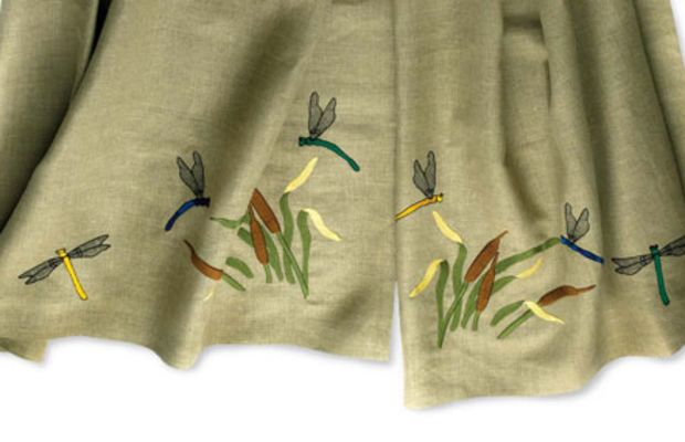 Linen curtains custom-embroidered with a dragonfly and cattail design, by Ford Craftsman Studios.