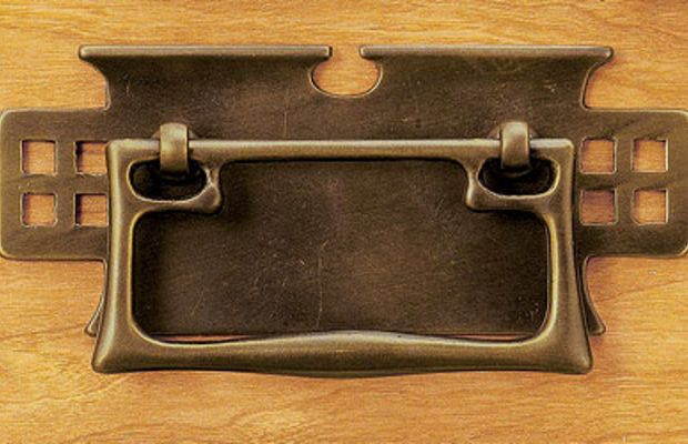 Elegant cast-brass Mackintosh drop pull AD-4064 in antique finish from Horton Brasses.