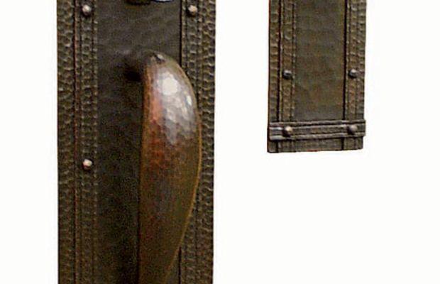 Hand-hammered copper entry set 'Santa Rosa' from Craftsmen Hardware.