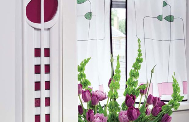 Ring-hung café curtains by Judy Soccio echo the Mackintosh-inspired design of a new kitchen in West Virginia. Photo by Ed Massery.