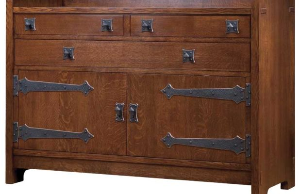 The oak sideboard reproduces a Gustav Stickley design of 1902; from today's Stickley.
