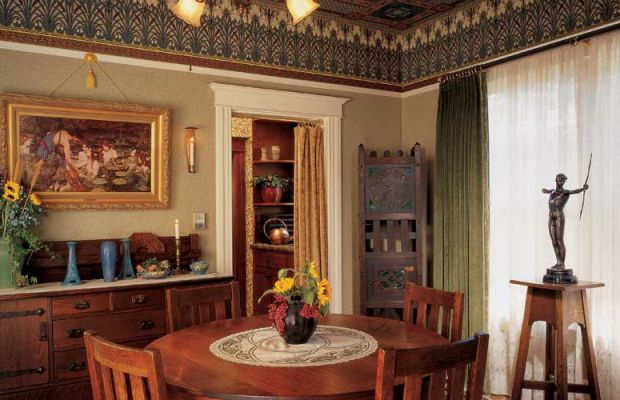 All rooms radiate from the dining room at the center of the house. Its decoration set the color scheme and themes for the home.